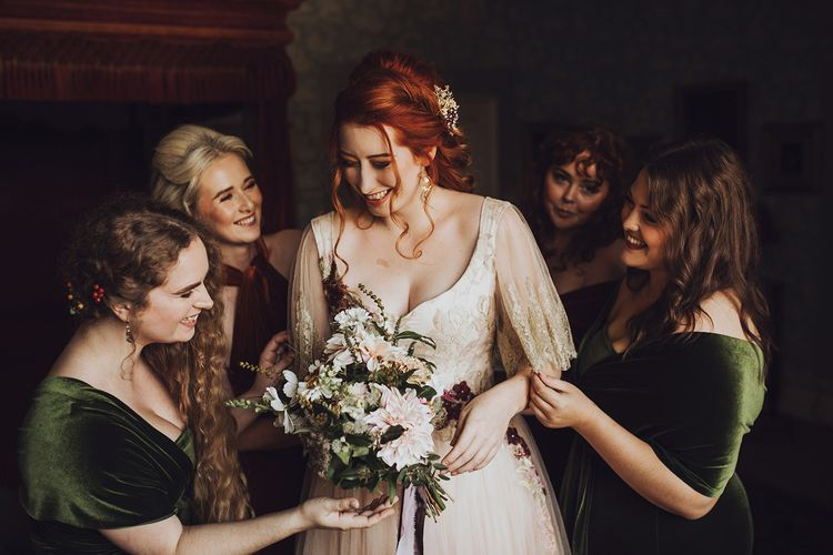 Bridal preparations with bridal party at Forde Abbey