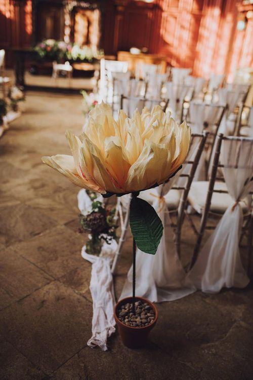 Large flower wedding decor at Forde Abbey