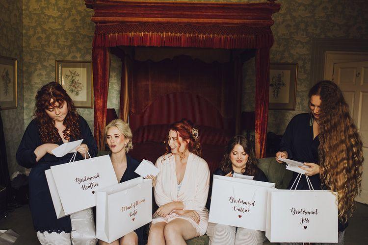 Bridesmaid presents at Forde Abbey wedding