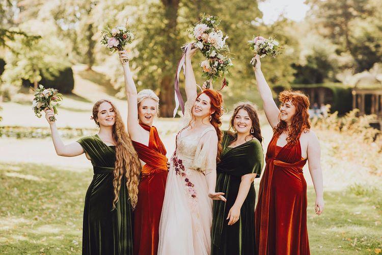 Velvet bridesmaid dresses for Autumn wedding