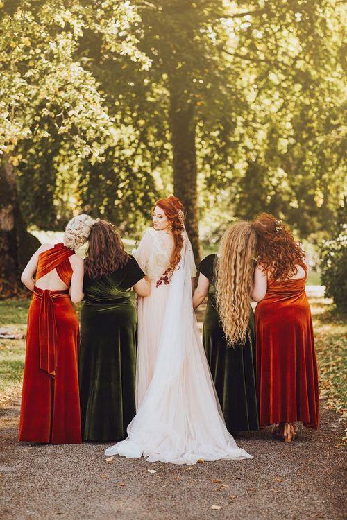Orange and green bridesmaid dresses