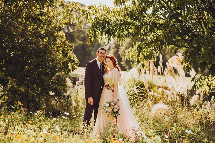 Bride and groom at September wedding at Forde Abbey