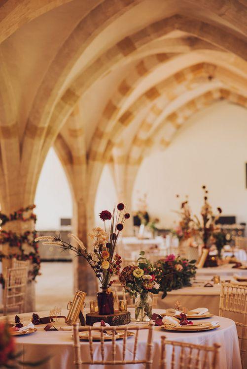 Wedding table decor for Autumnal wedding