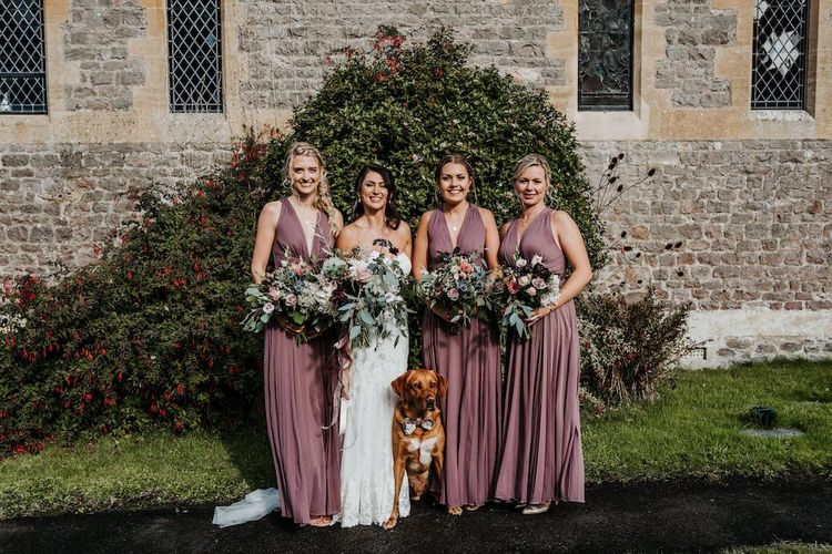 Bridal party portrait with bridesmaids in dusky pink ASOS dresses
