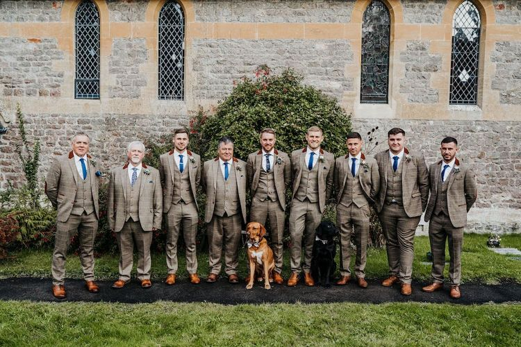 Groomsmen portrait in brown checked suits