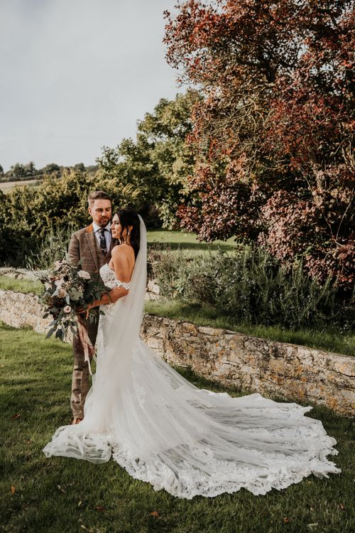 Bride and groom portrait at Priston Mill
