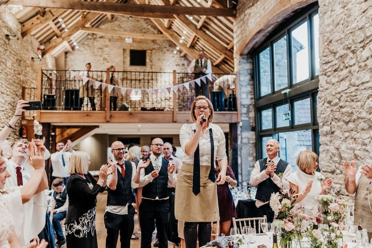 Singing waiters at Priston Mill wedding reception