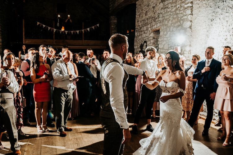 Bride and grooms first dance at Priston Mill