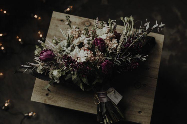 Purple Green & White Wedding Bouquet