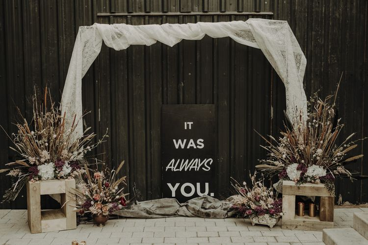Ceremony Altar Decor with Drapes, Contemporary Wedding Sign and Dried Flower Arrangements