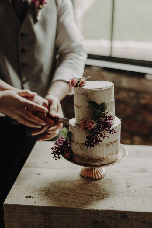Miniature Semi Naked Wedding Cake with Flower Decor