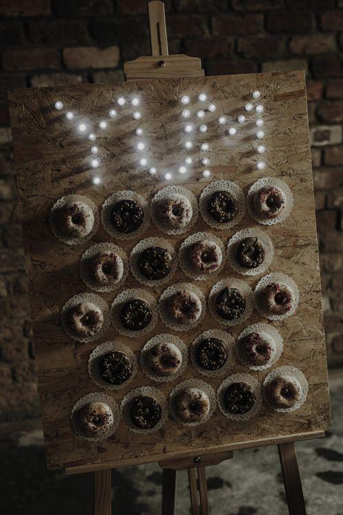 Doughnut Wall with YUM Wedding Light Sign