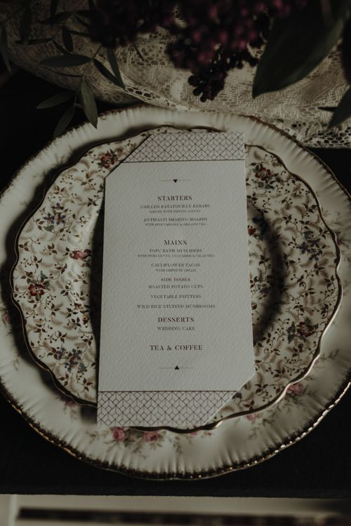 Place Setting with Floral Tableware by The Green Cockatoo
