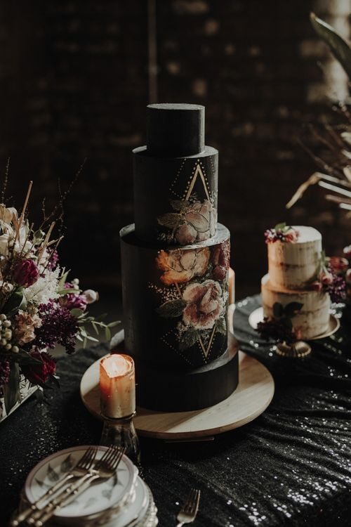 Tall Black Wedding Cake with Floral Motif by Polka Dot Cakes