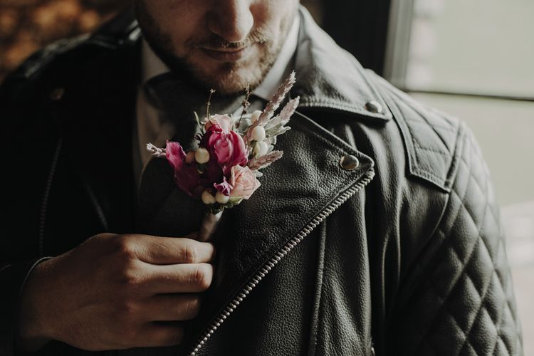 Purple Tulip and Dried Flower Grooms Buttonhole