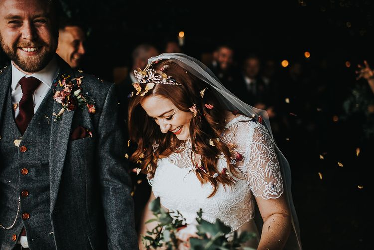 Bride wearing bridal crown and lace detail two-piece