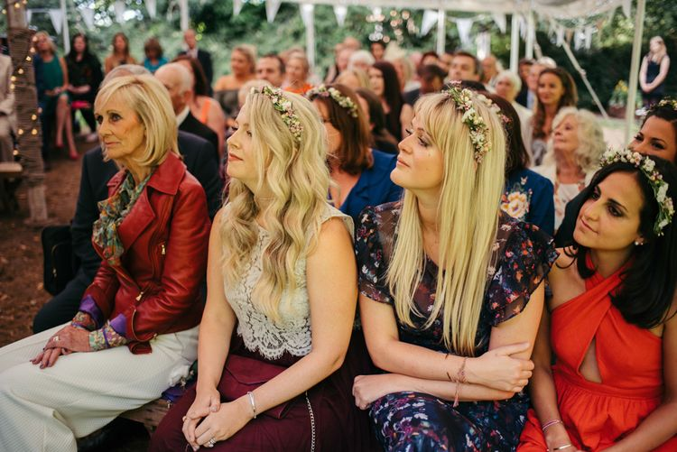 Bridesmaids In Flower Crowns // Boho Pub Wedding At The Crooked Billet Stoke Row With Bride & Bridesmaids In Flower Crowns And Vintage Fire Truck With Images From Ed Godden Photography
