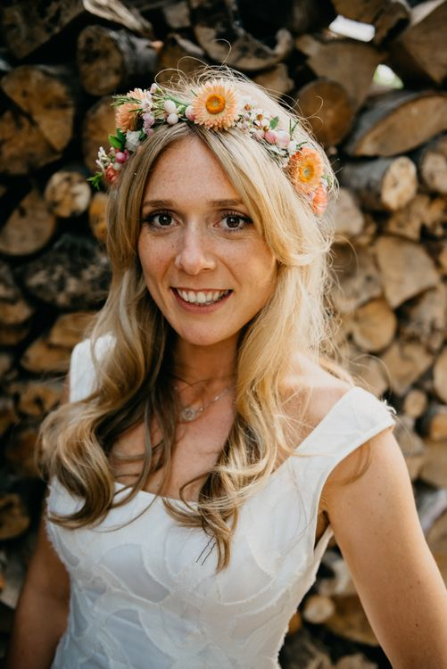 Bride In Flower Crown // Boho Pub Wedding At The Crooked Billet Stoke Row With Bride & Bridesmaids In Flower Crowns And Vintage Fire Truck With Images From Ed Godden Photography