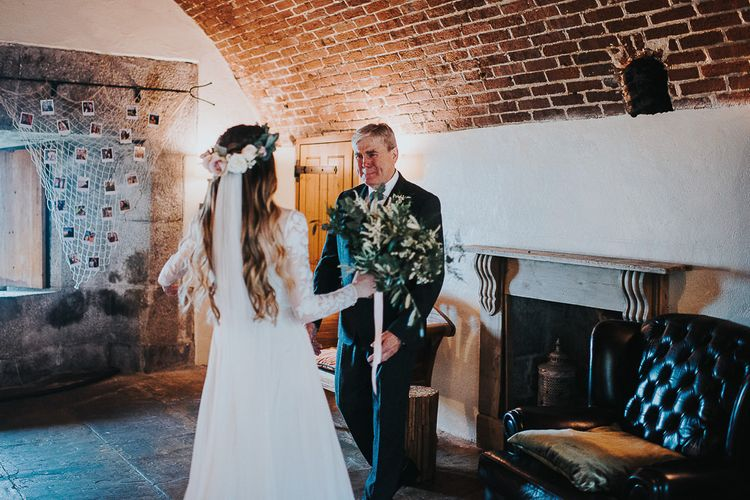 Father of the Bride First Look with Bride in Catherine Deane Jessica Bodysuit and Anika Skirt Separates