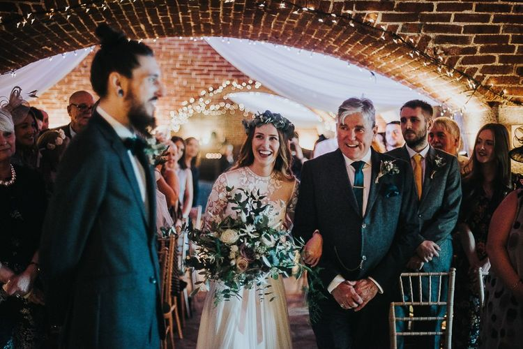 Wedding Ceremony Bridal Entrance in Catherine Deane Jessica Bodysuit and Anika Skirt Bridal Separates