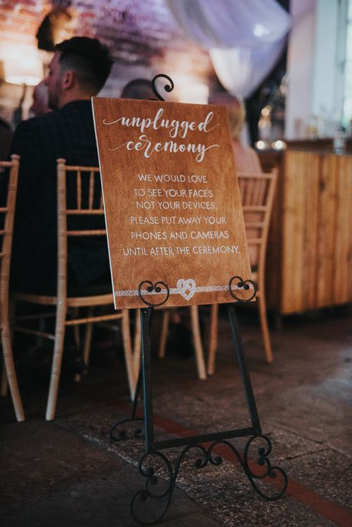 Wooden Unplugged Ceremony Wedding Sign