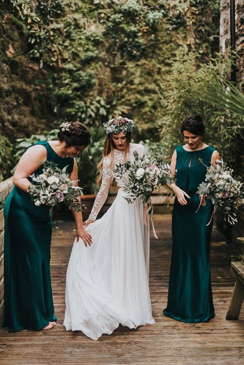 Bridal Party Portrait with Bridesmaids in Forest Green Dresses and Bride in Catherine Deane Separates