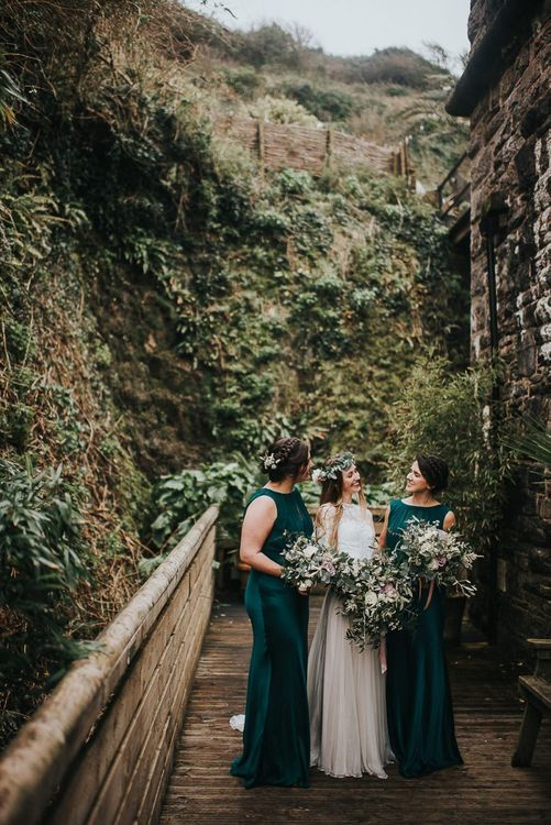 Bridal Party Portrait with Bridesmaids in Ghost Forest Green Dresses and Bride in Catherine Deane Separates