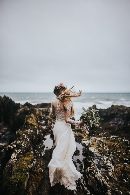Windswept Bride in Catherine Deane Jessica Bodysuit and Anika Skirt Separates