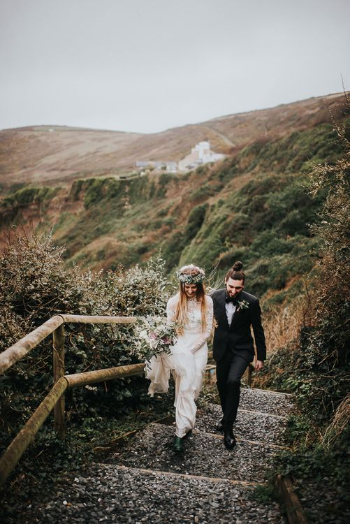 Bride in Catherine Deane Jessica Bodysuit and Anika Skirt Separates and Groom in Tuxedo & Bow Tie