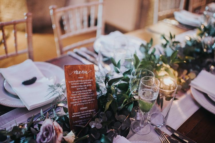 Foliage Table Runner with Wooden Menu Sign