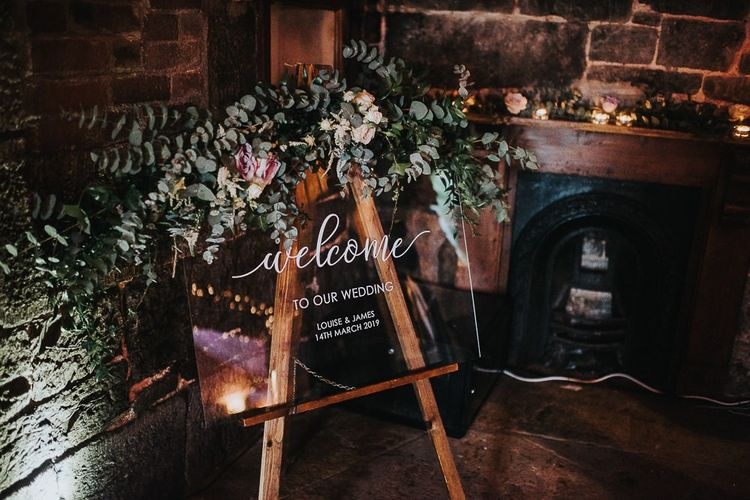 Acrylic Wedding Welcome Sign with Floral Decor