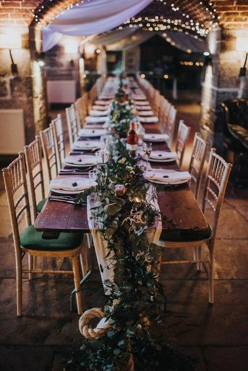 Trailing Foliage and Flower Table Runner Decor