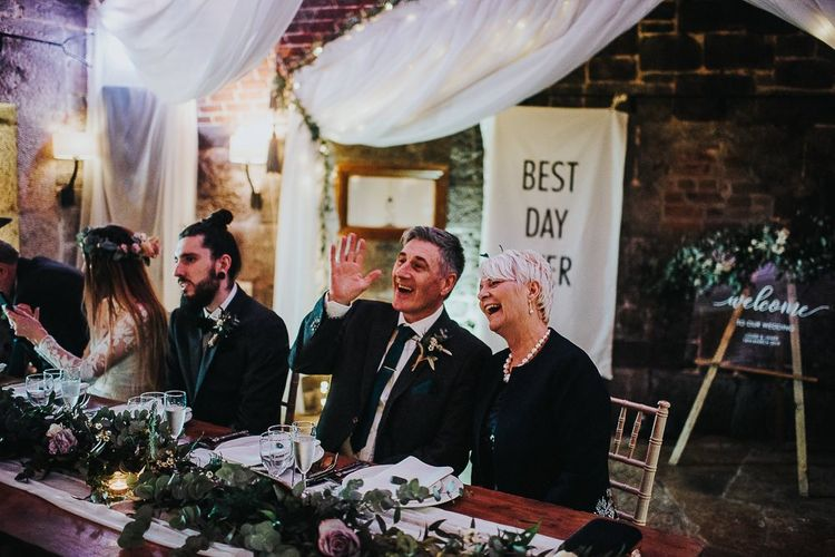 Top Table with Best Day Ever Flag Backdrop