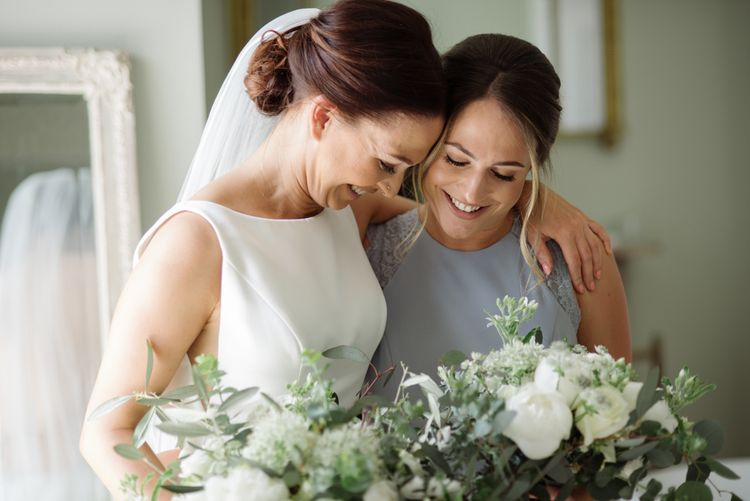 White Flower & Foliage Bouquet // Satin Mikaella Bridal Wedding Dress With Long Train For Elegant White & Green Wedding At Pennard House Somerset With Images By Captured By Katrina