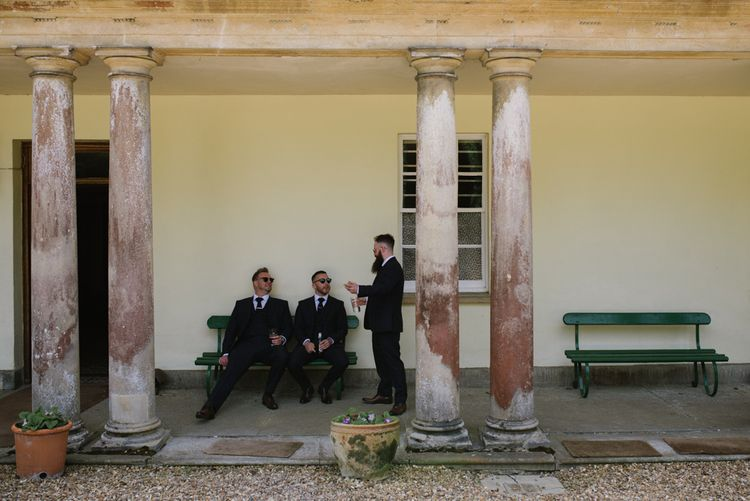 Groom & Groomsmen Pre Wedding // Satin Mikaella Bridal Wedding Dress With Long Train For Elegant White & Green Wedding At Pennard House Somerset With Images By Captured By Katrina