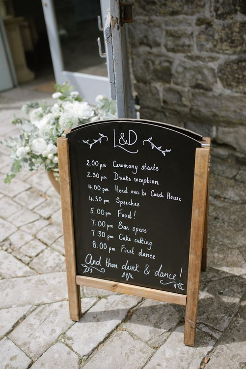 Chalkboard Wedding Order Of The Day Sign // Satin Mikaella Bridal Wedding Dress With Long Train For Elegant White & Green Wedding At Pennard House Somerset With Images By Captured By Katrina