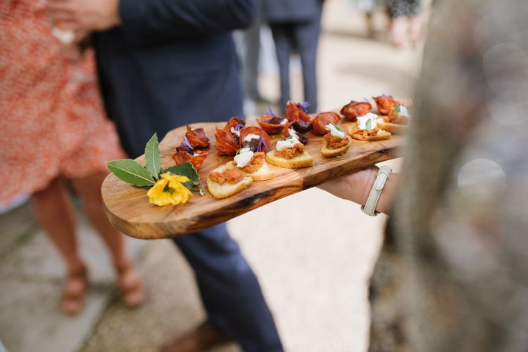 Wedding Canapes // Satin Mikaella Bridal Wedding Dress With Long Train For Elegant White & Green Wedding At Pennard House Somerset With Images By Captured By Katrina