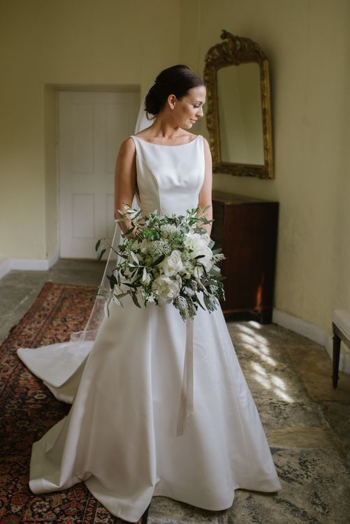 Satin Mikaella Bridal Wedding Dress With Long Train For Elegant White & Green Wedding At Pennard House Somerset With Images By Captured By Katrina