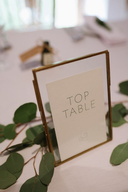 Gold Framed Table Numbers // Outdoor Wedding Ceremony At Pennard House // Satin Mikaella Bridal Wedding Dress With Long Train For Elegant White & Green Wedding At Pennard House Somerset With Images By Captured By Katrina