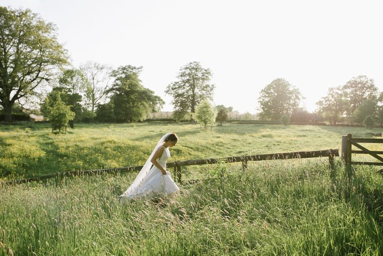 Outdoor Wedding Ceremony At Pennard House // Satin Mikaella Bridal Wedding Dress With Long Train For Elegant White & Green Wedding At Pennard House Somerset With Images By Captured By Katrina