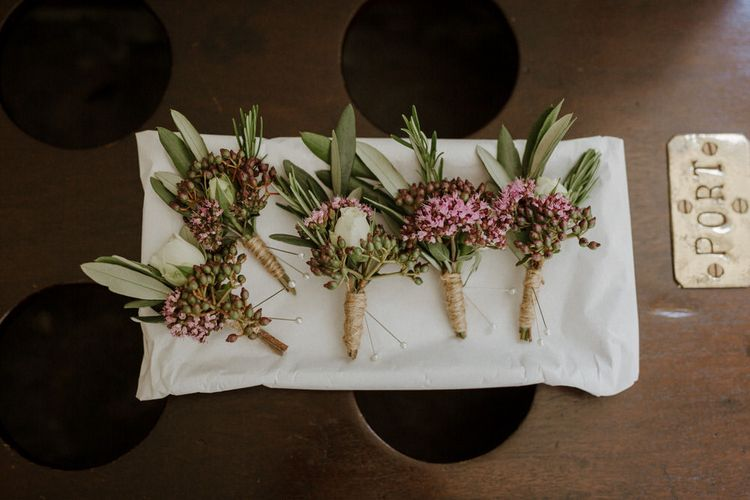 Buttonholes For Groom & Groomsmen // Boconnoc Cornwall Weekend Wedding With Bride In Halfpenny London & Groom In Paul Smith With Images From The Curries