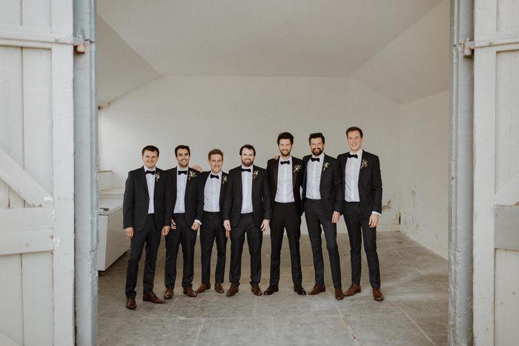 Groom & Groomsmen In Black Tie // Boconnoc Cornwall Weekend Wedding With Bride In Halfpenny London & Groom In Paul Smith With Images From The Curries