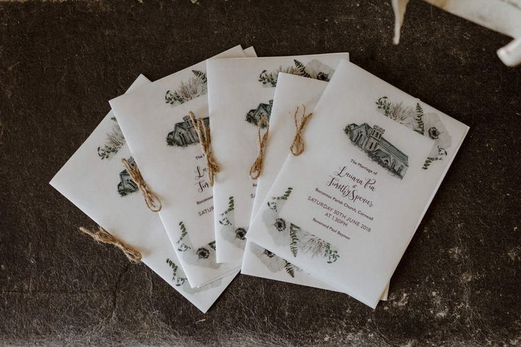 Illustrated Order Of Service For Wedding // Bride In Halfpenny London Separates // Boconnoc Cornwall Weekend Wedding With Bride In Halfpenny London & Groom In Paul Smith With Images From The Curries