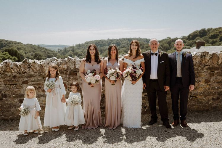 Wedding Party In Ghost & Bride In Halfpenny London // Bride In Halfpenny London Separates // Boconnoc Cornwall Weekend Wedding With Bride In Halfpenny London & Groom In Paul Smith With Images From The Curries