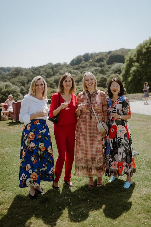 Stylish Wedding Guests // Boconnoc Cornwall Weekend Wedding With Bride In Halfpenny London & Groom In Paul Smith With Images From The Curries