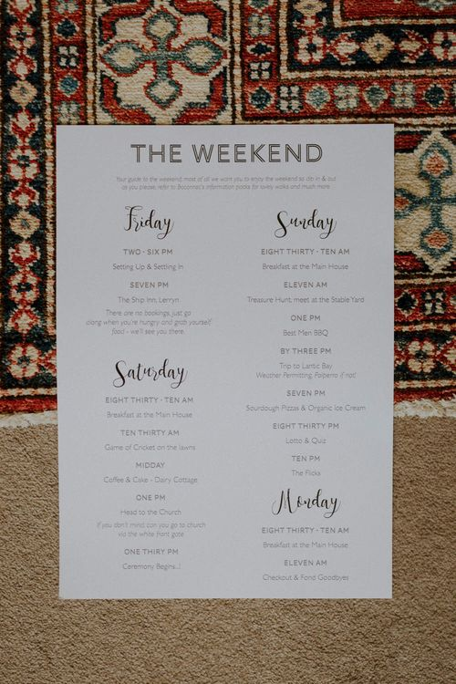 Weekend Itinerary For Wedding // Boconnoc Cornwall Weekend Wedding With Bride In Halfpenny London & Groom In Paul Smith With Images From The Curries