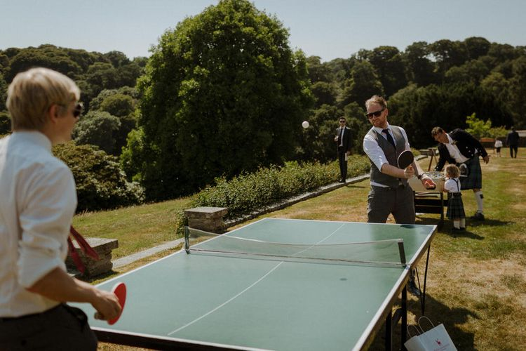 Table Tennis Table For Wedding // Boconnoc Cornwall Weekend Wedding With Bride In Halfpenny London & Groom In Paul Smith With Images From The Curries