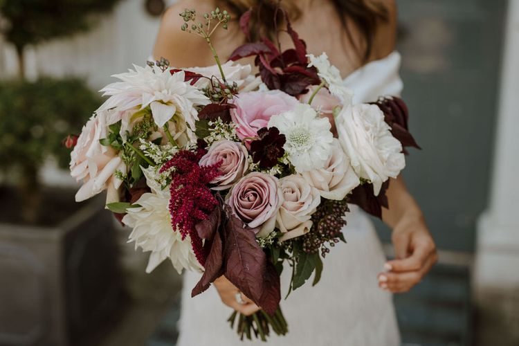 Late Summer Wedding Bouquet With Cafe Au Lait Dahlia And Roses // Boconnoc Cornwall Weekend Wedding With Bride In Halfpenny London & Groom In Paul Smith With Images From The Curries