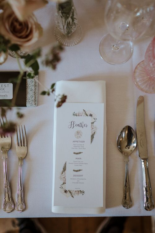 Floral Illustrated Wedding Stationery // Boconnoc Cornwall Weekend Wedding With Bride In Halfpenny London & Groom In Paul Smith With Images From The Curries