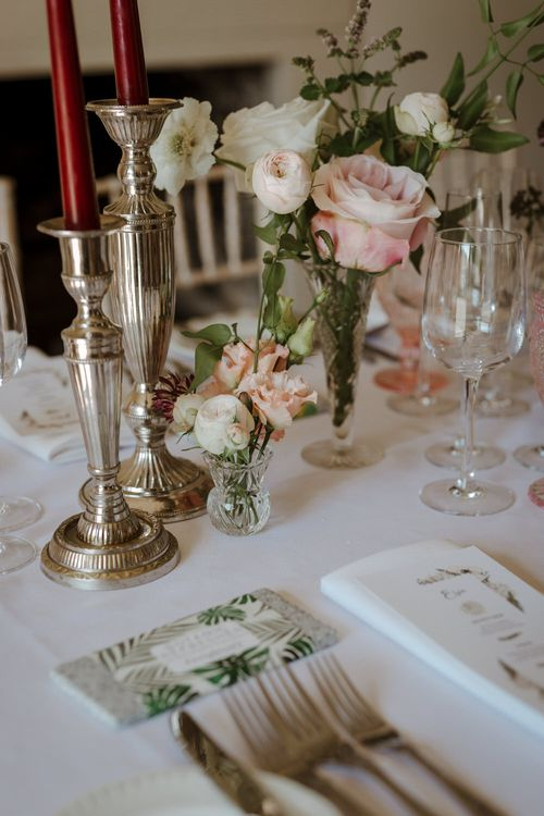 Bud Vase Floral Arrangements For Wedding // Boconnoc Cornwall Weekend Wedding With Bride In Halfpenny London & Groom In Paul Smith With Images From The Curries
